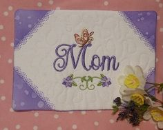 Mom Mug Rug - 5x7   In the Hoop   Machine Embroidery Designs   SWAKembroidery.com Oma's Place