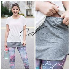 Shirt Extender-slip on gray knit shirt extender, perfect for workout! Make these from old t-shirts. Fashion Sewing, Diy Fashion, Look Legging, Shirt Extender, Diy Vetement, Moda Casual, Mode Hijab, Clothing Hacks, Knit Shirt