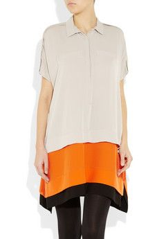 Color-Block Silk Dress by DVF