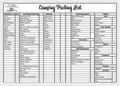 Camping Packing List Template