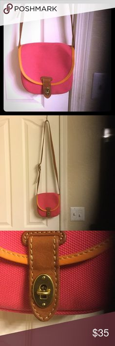 ✨SALE Fossil mini cross body Austin ✨ Approx. 7' by 7' mini size cross body fits phone wallet lipstick ect. Cross body adjustable leather straps and trim on canvas purse. Small inner pocket 100% clean and new with only used once. Great little handbag with classic keyhole clasp in front. No zippers. Fun neon pink and orange. Authentic Fossil Fossil Bags