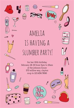 Spa Party - Free Printable Sleepover Party Invitation Template | Greetings Island
