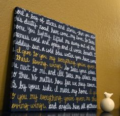 Wall Art Canvas Song Lyric Art Painting Navy Blue and White With Gold Accent Color - Wedding Song, Lyrics, Bible Verses, Literature, Poetry.