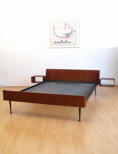 Friso Kramer; Teak Plywood and Enameled Metal 'Euroika' Bed for Auping, 1960s.