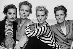 "The Giorgio Armani ""New Normal"" campaign shot by Peter Lindbergh featuring Yasmin Le Bon, Eva Herzigova, Nadja Auermann and Stella Tennant."