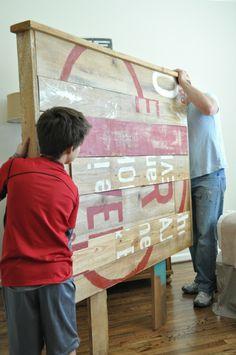Wunderbar Bett Kopfteil Aus Recycliertem Holz Selber Bauen U2013 Anleitung #anleitung  #bauen #kopfteil #