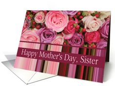 Sister - Happy Mother's Day pastel roses