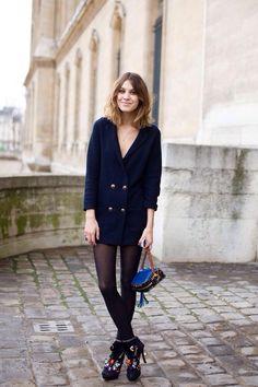 blazer as dress. #AlexaChung in Paris. #GaranceDore