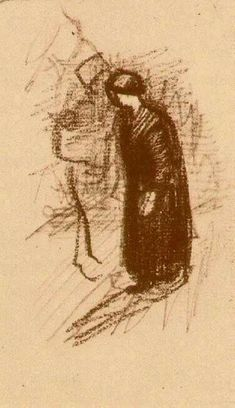 Woman in Dark Dress, Walking, 1886, Vincent van Gogh Medium: chalk on paper