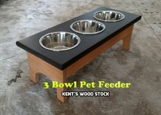 Small 3 Bowl Dog Feeder, Personalized Dog Feeder, Raised Pet Feeder,  Dog Feeder with Name, Elevated Pet Feeder, Custom Dog Feeder, Pet Gift