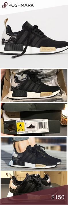 ADIDAS NMD R1 Core Black / Ice / Nude Beige - Rare Rare & Sold out! 100% Authentic ADIDAS NMD R1 in Core Black / Ice Purple / Nude Beige. The ice purple is more of a blushes white - it's beautiful! Brand new in box. Only selling on p a y p a l because posh takes too high of a commission. Please message me below for more information! Adidas Shoes Sneakers