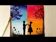 A Romantic Couple on Day & Night Scenery Painting for beginners, Day & Night scenery Drawing step by Acrylic colors I used here are:- Ultramarine blue Golden. Love Canvas Painting, Cute Canvas Paintings, Small Canvas Art, Simple Acrylic Paintings, Couple Painting, Diy Canvas Art, Easy Nature Paintings, Scenery Paintings, Romantic Paintings
