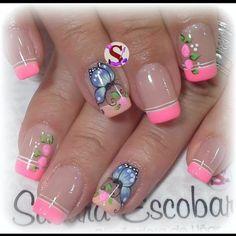 Pink Nail Art, Cute Acrylic Nails, Pedicure, Nail Art Designs, Instagram, Beauty, Beauty Makeup, Gel Nail, Adhesive