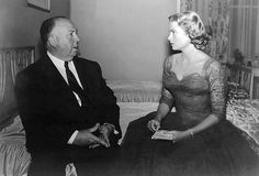 Hitch and Grace Kelly on the set of Dial M For Murder.