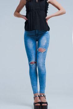 Ladies Ex New Look Curves Bright Blue//Black Super Soft Skinny Plus Size Jeans