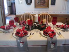 Lovely winter snowman theme tablescape in red and white