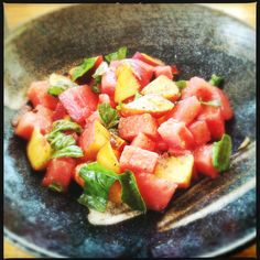Watermelon and Peach Salad with Basil