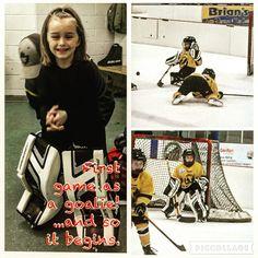 First game as a #goalie today! Brenna has officially decided that she will be a #goaltender  #hockey #hockeylife #girlshockey #goaliegirl #futuregoalie