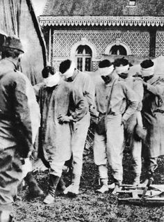 World War I - American prisoners of war and victims of German gas attacks. The eyes are bandaged due to medical reasons.