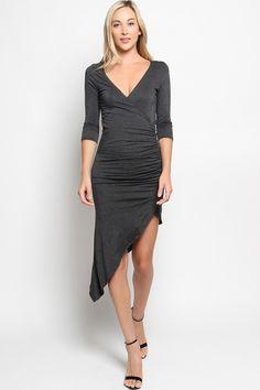 Plunge V Neck Ruched Asymmetric Bodycon Dress