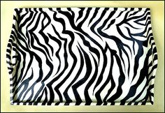 TROPICAL HOME DECOR -  Beautiful hand painted black and white zebraanimal printwooden serving tray. -  See more tropical designs at www.TropicAccents.com