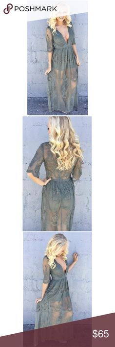"""Live in Luxe Lace Maxi Dress In stunning sheer Dark Sage lace maxi dress has a plunging neckline and short sleeves that includes a lined bust, shorts underneath, long side slits and floral embroidery throughout.For those that are looking for a less daring front pair with a lace bralette.   * PRICE FIRM * Actual Model * 85% Cotton 15% Polyester/ Lining: 100% Polyester * Model is wearing a small * Model's measurements: Height: 5'8'' Bust: 34'' Waist: 26'' Hips: 34'' * Dress length : 58""""…"""