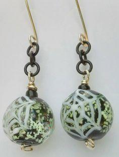 Glow In The Dark Earrings, Spider Web Earrings, Halloween Jewelry,Halloween Earrings,Sterling Silver Dangles,Halloween Lampwork Jewelry,Glow