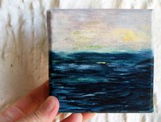 Sea Sunrise - Miniature Canvas Watercolor Painting with easel - 4x4 - Grey yellow blue ocean. $30.00, via Etsy.