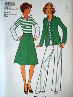 Vintage 1970s Simplicity Trouser Skirt Suit Top Sewing Pattern B 40 42 Free UK Shipping