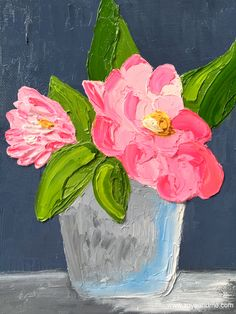 Pink floral palette impasto wall decor art painting. See it on www.zoyandme.com and https://www.etsy.com/shop/ZoyaAndMeStudio/