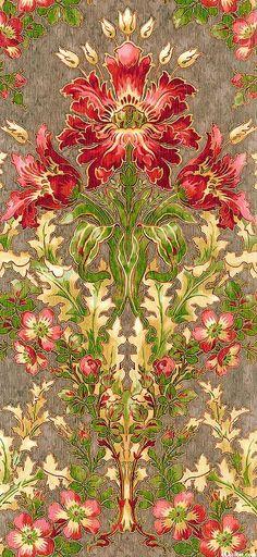 eQuilter Claridge Manor - Morris Flower - English Toffee/Gold