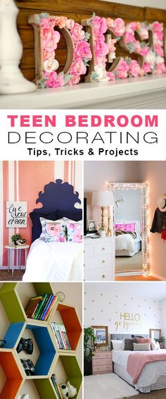 Teen Bedroom Decorating • Tips, Tricks & Projects for adding decorating style to a teen room ! #DIY #teenbedroom #teenroom #teenroomdecorating #decorating #homedecor
