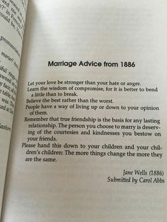 Marriage Advice, 1886: friendship, courtesy, bending, and children. Great advice!