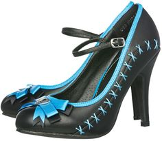 T.U.K. STITCH BOW HEELS BLACK/TURQUOISE    Get all stitched up with these new heels from T.U.K.! These cutesy black Mary Jane heels feature a black & blue satin bow on the toe with skull heart adornment, blue trim & blue stitching down the side.    $55.00