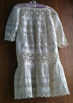 Gorgeous Handmade Antique Child's Edwardian Summer Lawn Dress w LOTS of Lace!