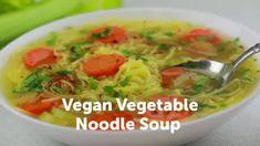 Vegan Vegetable Noodle Soup Recipe • Veggie Society Potato Flatbread Recipe, Hummus Recipe, White Bean Kale Soup, Turmeric Lemonade, Best Salsa Recipe, Vegetable Noodle Soup, Toscana Recipe, Roasted Broccoli Recipe, Vegan Stew