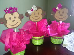 Monkey baby shower centerpieces.