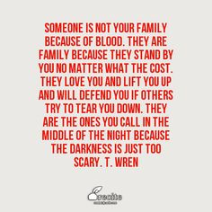 Someone is not your family because of blood. They are family because they stand by you no matter what the cost. They love you and lift you up and will defend you if others try to tear you down. They are the ones you call in the middle of the night because the darkness is just too scary. T. Wren - Quote From Recite.com #RECITE #QUOTE