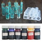 6 Bottles 10g Silicone Resin Pigment Dye DIY Making Crafts + 7 pcs Silicone mold