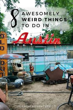 """""""Keep Austin Weird"""" by exploring these 8 awesomely weird things to do in Austin, Texas. // ATX   Street Art   Alternative Things to See   South Congress   Family Travel   Travel with Kids   Family Vacation   Texas Road Trip #TravelDestinationsUsaTexas #texastravel"""