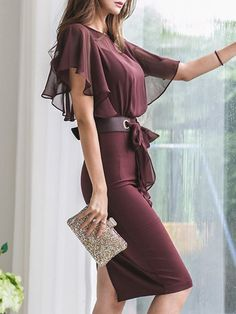 Women Wire High Slit Side Deep V Neck Bodycon Club Party Outfits Mini Dress #S