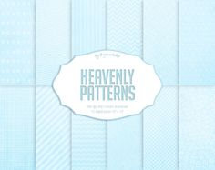 "#Soft #Blue Digital Paper: ""Heavenly Patterns""  Twelve Blue Digital Paper papers that are perfect for #scrapbooking, cardmaking, parties, home decor items, invitations, photo ... #etsy #digiworkshop #illustration #creative #clipart #printables #cardmaking #blue #soft #luminous #patterns"