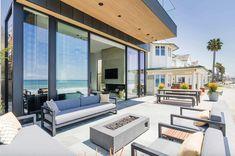 Sleek and stylish beach shelter in a California seaside village