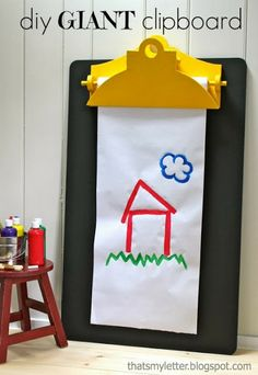 "That's My Letter: ""G"" is for Giant Clipboard, diy giant clipboard wall easel with chalkboard"