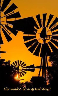 Windmill Silhouettes by jmurphpix.j Windmills are much noisier than people realize. When I see this I can hear their sounds in my memory. Old Windmills, Shadow Silhouette, Silhouette Photography, Water Tower, Old Barns, Le Moulin, Mellow Yellow, Yellow Sky, Colour Yellow