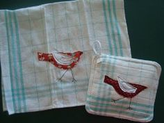 Matching Towel and Hot Pad Tutorial - red bird with white wing, appliqued and embroidered on plaid edged tea towel and hot pad, easy