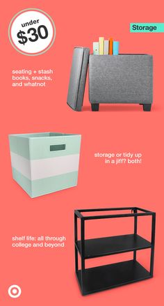 Help your college student keep their dorm room neat with bins, shelves & storage must-haves. College Dorm List, College Dorm Storage, Dorm Organization, College Dorm Rooms, College Life, Organizing, Dorm Life, Tidy Up, Dorm Decorations