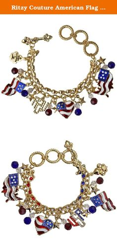 Ritzy Couture American Flag Charm Adjustable Toggle Bracelet (Goldtone). You're proud be an American, so why not proudly wear this bold bracelet? This silvertone accessory features a collection of patriotic and Americana-themed enamel charms and glass stones. In this two-strand bracelet, one strand boasts a line of red, white and blue glass stones while the second is a cable link chain that holds the charms. Adjust this piece to the perfect size with the toggle clasp. Silvertone…
