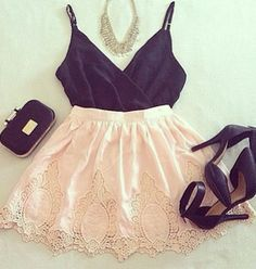 Pretty lace skirt and black top