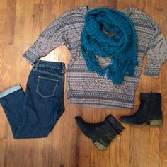 Scarf, Sweater, Denim Jeans! Will Sell Separately!                                       Scarf: turquoise, blue/green, super warm! $10          Sweater: Forever 21 size Small, $15                               Jeans: The Limited, cropped, only worn once, stretchy, size 0, $18 Sweaters Crew & Scoop Necks